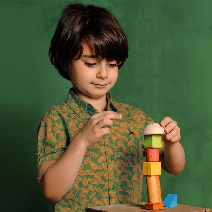 پسر در حال چیدن بازی برج تعادل سپتا