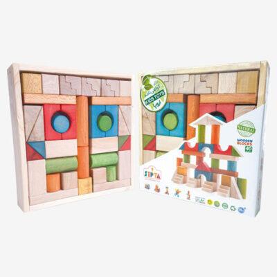 بریکس 40 قطعه جعبه چوبی