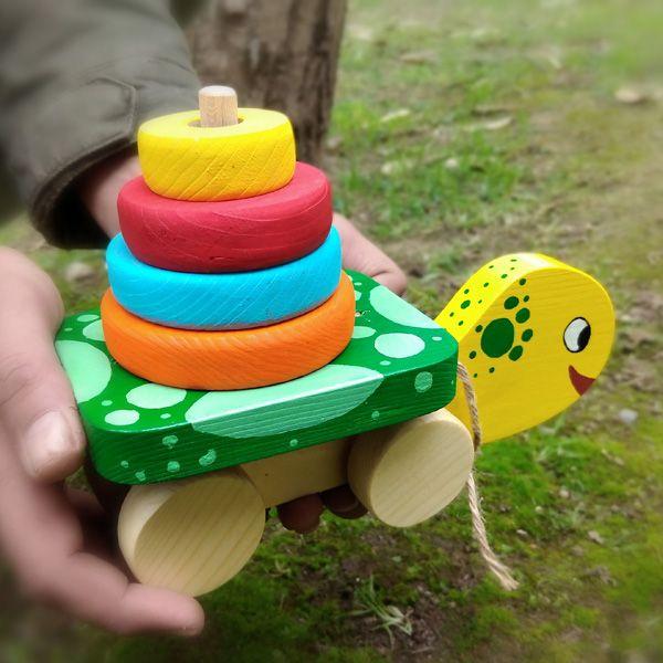 اسباب بازی لاک پشت هوش چوبی